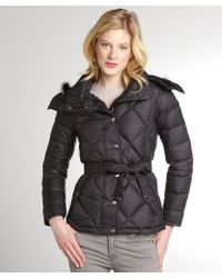 Burberry Black Quilted Down Filled Belted Coat - Lyst