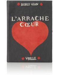 Olympia Le-Tan Larrache Coeur Suede Book Clutch - Lyst