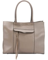 Rebecca Minkoff Taupe Leather Mab Medium Top Handle Tote - Lyst