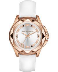 Karl Lagerfeld Unisex Karl 7 White Patent Leather Strap Watch 36mm - Lyst