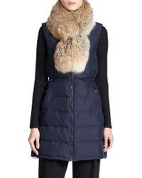 Theory Womira Fur-Collar Down Puffer Vest - Blue