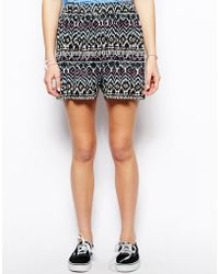 ASOS Culotte Shorts In Aztec Print - Multicolor