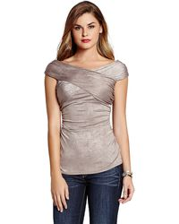 Guess Woodson Ruched Crossover Top - Lyst