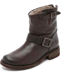 Frye - Valerie Shearling Lined Booties - Lyst