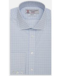 Turnbull & Asser | Exclusive Slim Fit Tonal Blue Check Cotton Shirt With Regent Collar | Lyst