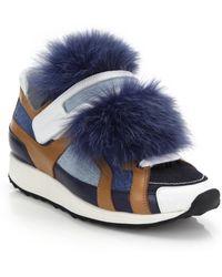 Pierre Hardy   Denim Fur-front Sneakers   Lyst