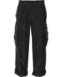 Alexander McQueen Silk Cargo Pants - Black