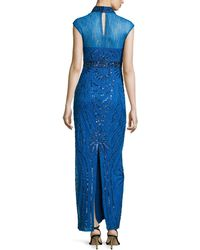 Sue Wong Embellished-lace Cap-sleeve Gown - Lyst