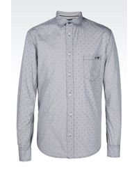Armani Jeans Shirt In Logo Patterned Cotton - Lyst