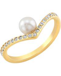 Vita Fede Ultra Mini V Pearl Crystal Ring yellow - Lyst