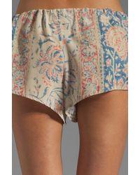 Chaser Vintage Tapestry Silk Drawstring Shorts in Beige - Natural