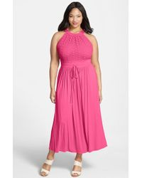 Calvin Klein Lace Bodice Maxi Dress - Lyst