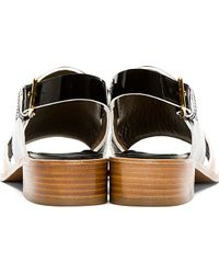 Marni Black and Camel Patent Leather Sandals - Orange