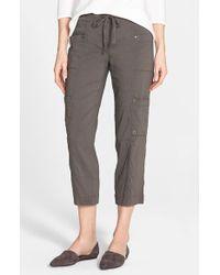 Eileen Fisher Crop Linen Blend Cargo Pants - Lyst