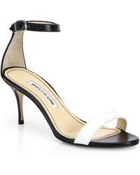 Manolo Blahnik Chaos Bicolor Leather Ankle-Strap Sandals - Lyst