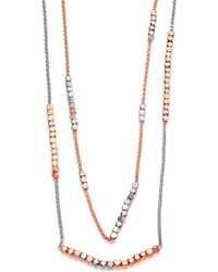 Tory Burch Geo-Cube Two-Tone Double-Strand Necklace - Lyst