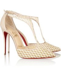 Christian Louboutin Salonu 100 Embroidered Mesh And Leather Pumps - Lyst