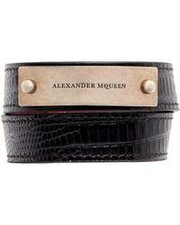 Alexander McQueen | Logo Metal Plate Lizard Embossed Leather Bracelet | Lyst