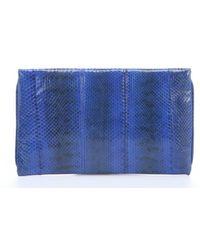 Beirn Cobalt Striped Snakeskin 'V2' Envelope Clutch - Lyst