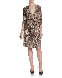 Calvin Klein Jaguarprint Wrap Dress - Lyst