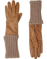 Barneys New York Extended Cuff Leather Gloves - Lyst