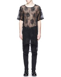 Ann Demeulemeester   Floral Embroidery Sheer Cotton-silk Top   Lyst