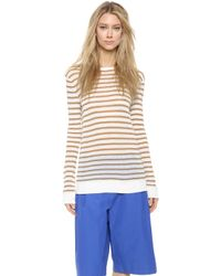T By Alexander Wang Striped Pullover - Off White & Trench - Lyst