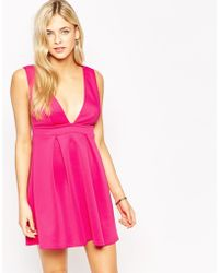 Oh My Love Plunge Skater Dress - Red