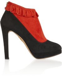 Charlotte Olympia Emily Twotone Suede Ankle Boots - Lyst