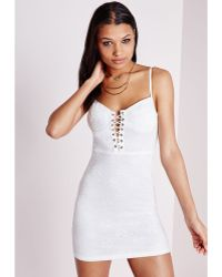 Missguided Lace Up Mini Dress White - Lyst