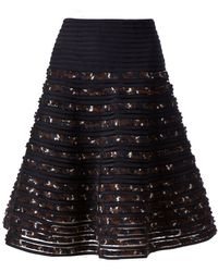 Oscar de la Renta Flared Embroidered Skirt - Lyst