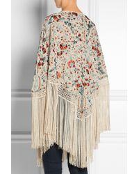 Talitha - Sasha Fringed Embroidered Silk Poncho - Lyst