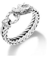 John Hardy Dragon Head Bracelet On Extra-large Rectangular Chain - Lyst
