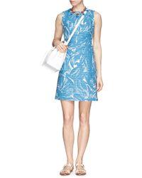 Tory Burch Leaf Print Corded Cotton-Linen Dress blue - Lyst