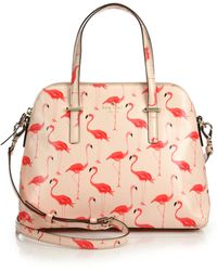 Kate Spade Cedar Street Maise Flamingo Saffiano Faux Leather Satchel pink - Lyst