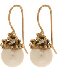 Ruth Tomlinson - Gold Diamond Encrusted Pearl Drop Earrings - Lyst