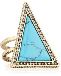 House of Harlow 1960 Triangle Theorem Cocktail Ring - Blue