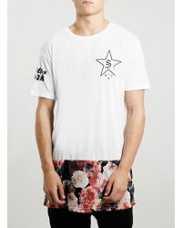 Topman Floral Long Line Fit Tshirt - Lyst