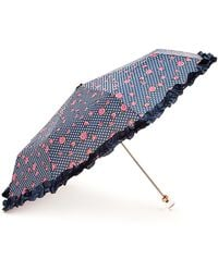 Forever 21 Rose Dot Ruffled Travel Umbrella - Blue