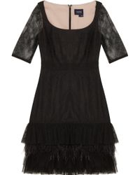 Notte by Marchesa Lace Dress With Feather & Pleated Tulle - Lyst