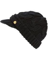 MICHAEL Michael Kors Cable Knit Newsboy Hat - Black