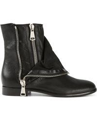 Casadei Zipper Biker Boots - Lyst