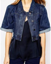 WÅVEN - Cropped Denim Jacket With Kimono Sleeves - Lyst
