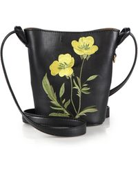 Stella McCartney | Small Faux Leather Floral-embroidered Bucket Bag | Lyst