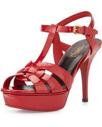 Saint Laurent Tribute Heel Patent Leather Platform Sandal - Lyst