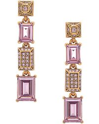 Oscar de la Renta Gold Tone and Lilac Swarovski Crystal Linear Drop Earrings - Lyst