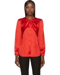 Givenchy Red Silk Sash Blouse - Lyst