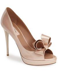 Valentino Couture Bow Platform Pump pink - Lyst
