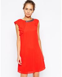 Little Mistress Shift Dress With Jewel Neck And Ruffle - Lyst