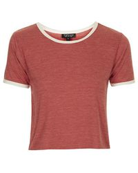 Topshop Contrast Trim Cropped Tee - Lyst